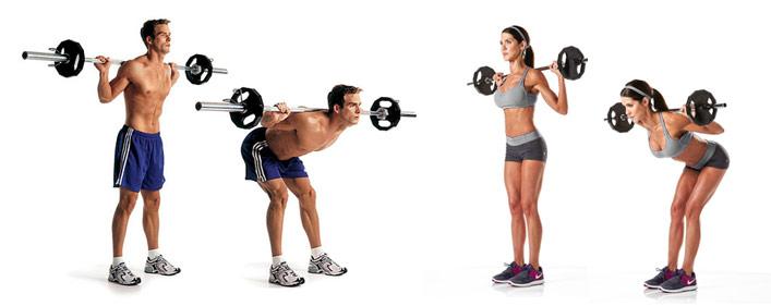 Тяга штанги в наклоне ошибки варианты правильного выполнения упражнения